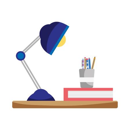 wood shelf with desk lamp and office utensils vector illustration