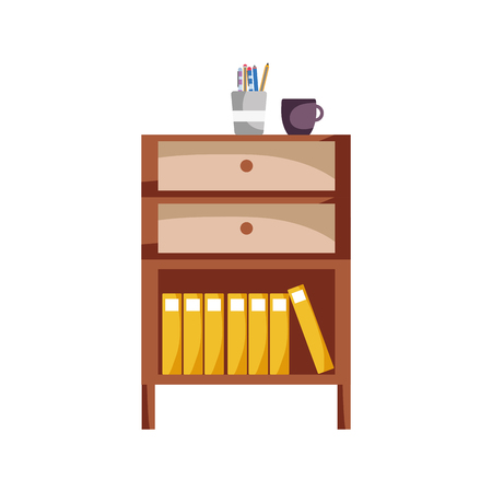 cabinet file archive with coffee cup and books vector illustration Ilustração