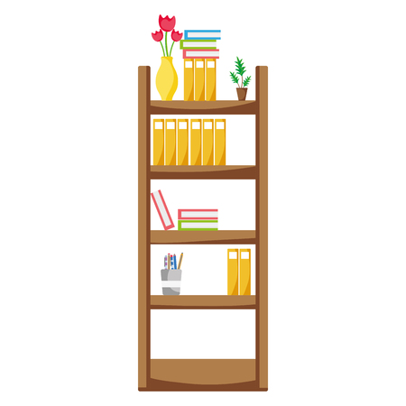 Education bookcase with folders document object vector illustration Stock fotó - 93052450