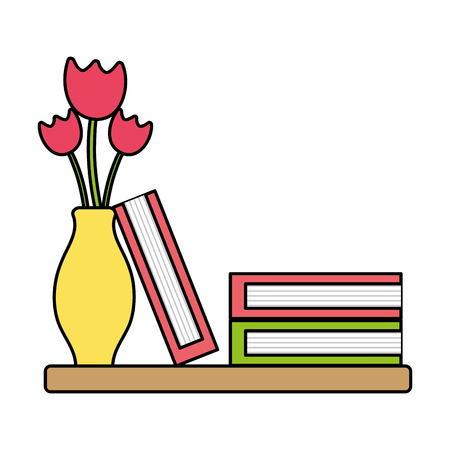 colorful wood shelf with flowers inside jar and books Illustration