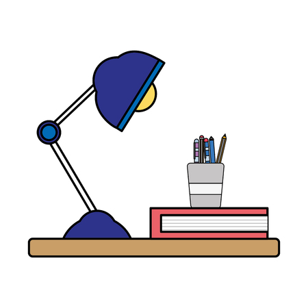 colorful wood shelf with desk lamp and office utensils