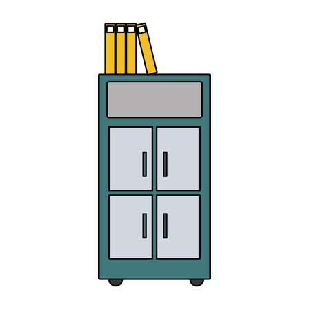 colorful archive cabinet file with books document Ilustração