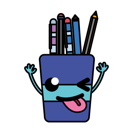 Colorful funny tools cup with arms vector illustration