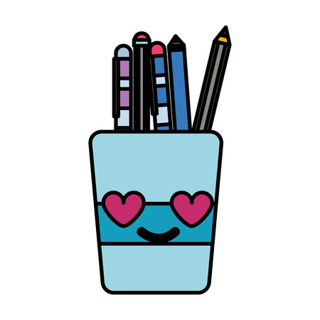 Colorful tools cup in love cartoon vector illustration Illustration