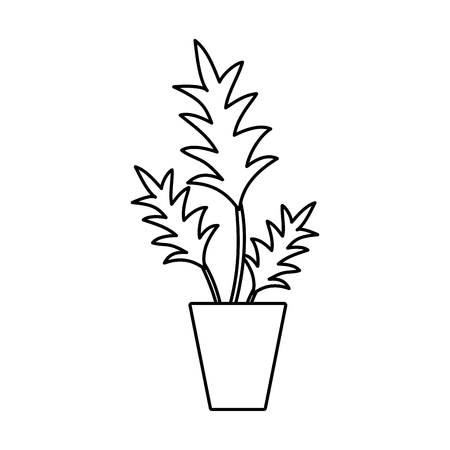 Line nature plant with leaves inside flowerpot vector illustration. Illustration
