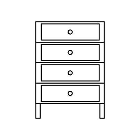 Line cabinet archive file document with drawer vector illustration