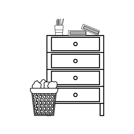 Line cabinet archive with papers can and books vector illustration Ilustração