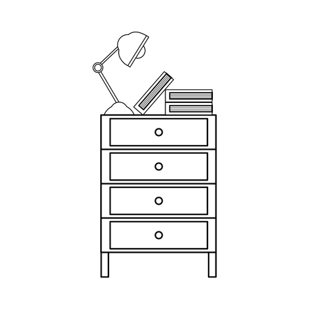 Line cabinet file archive with lamp desk and books vector illustration