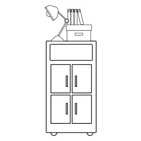 Line cabinet archive with books and lamp desk vector illustration Ilustração