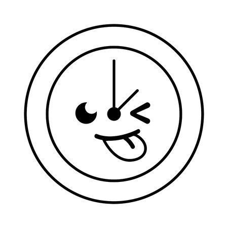 line funny circle clock cartoon Illustration