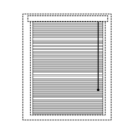 Dotted shape window with blind curtain close design vector illustration. Illustration