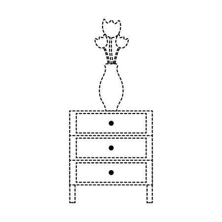 Dotted shape cabinet file archive with flowers inside jar Ilustração