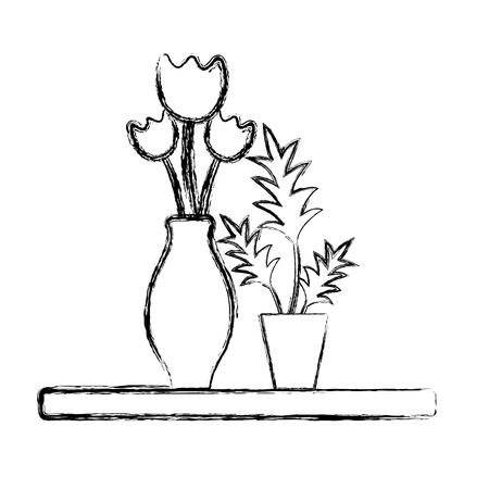 figure wood shelf with flowers inside jar and plants