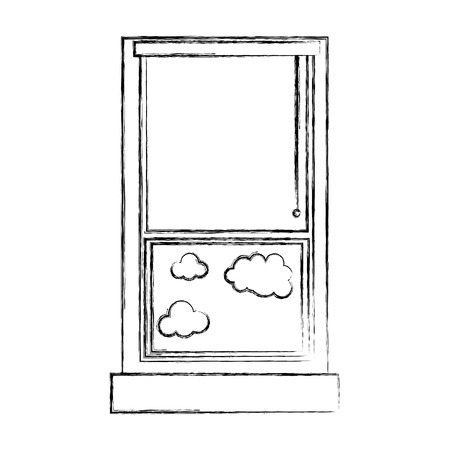 figure window with curtain blind open and clouds vector illustration
