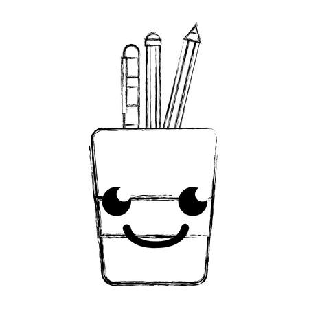 Figure smile tools cup cartoon vector illustration.