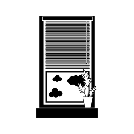 contour window with curtain blind open and plant vector illustration