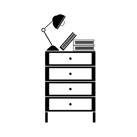 contour cabinet file archive with lamp desk and books vector illustration Imagens - 93059252