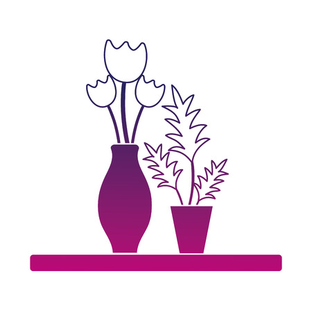 A silhouette wood shelf with flowers inside jar and plants vector illustration
