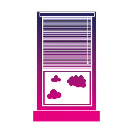 silhouette window with curtain blind open and clouds vector illustration