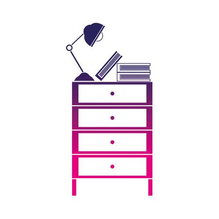 silhouette cabinet file archive with lamp desk and books Ilustração