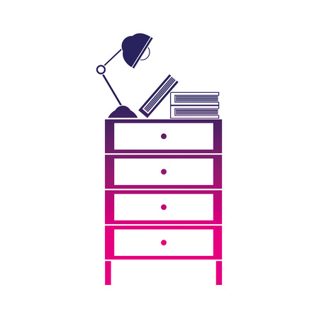 silhouette cabinet file archive with lamp desk and books Vectores