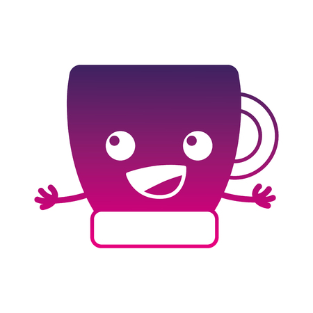 Silhouette Happy Coffee Cup Kawaii With Arms Vector Illustration