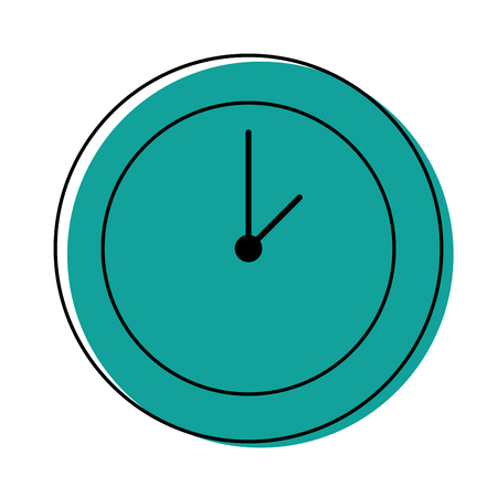 Color circle wall clock time object vector illustration