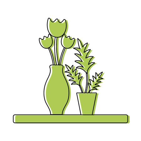 Color wood shelf with flowers inside jar and plants vector illustration Illustration