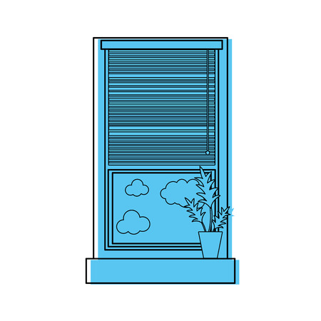 Color window with curtain blind open and plant vector illustration Stock Illustratie