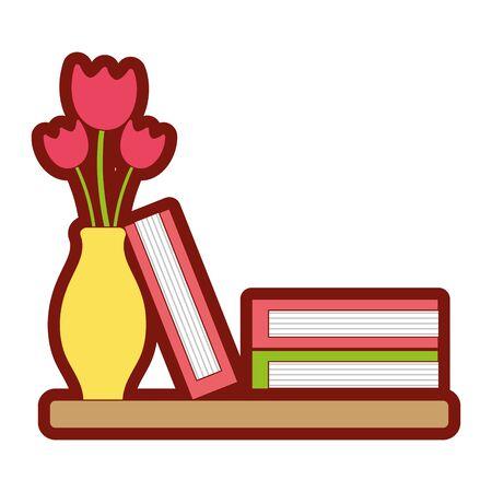 line color wood shelf with flowers inside jar and books vector illustration Illustration
