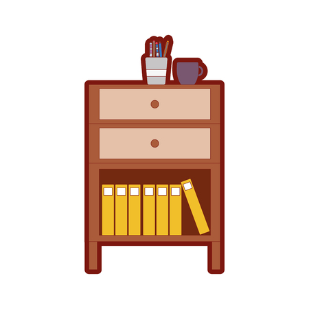 line color cabinet file archive with coffee cup and books vector illustration