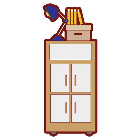 line color cabinet archive with books and lamp desk vector illustration Illustration