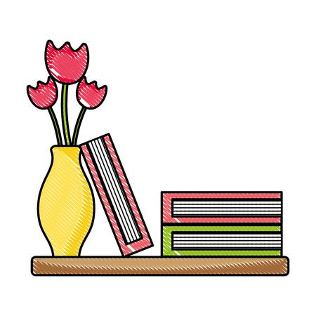 grated wood shelf with flowers inside jar and books vector illustration Illustration