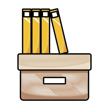 Grated office box with books and folders flat  illustration. Иллюстрация