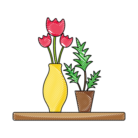 grated wood shelf with flowers inside jar and plants vector illustration