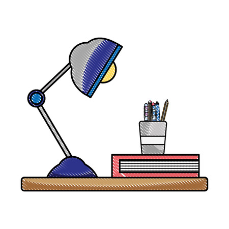 grated wood shelf with desk lamp and office utensils vector illustration