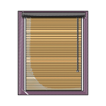 grated window with blind curtain close design vector illustration Stock Illustratie