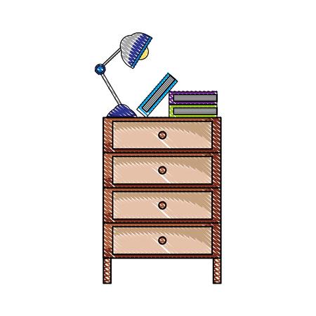 Grated cabinet file archive with lamp desk and books illustration. Ilustração
