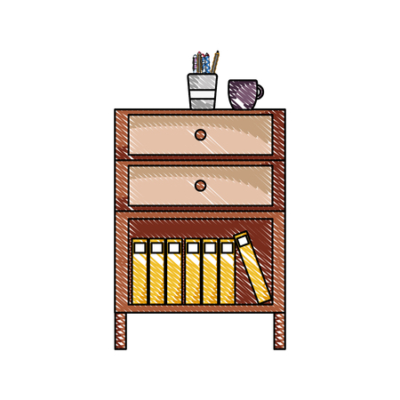 Grated cabinet file archive with coffee cup and books  illustration.