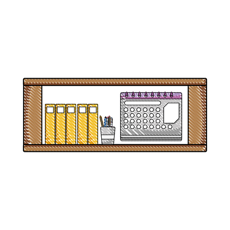 grated office shelf with folders document and calendar vector illustration