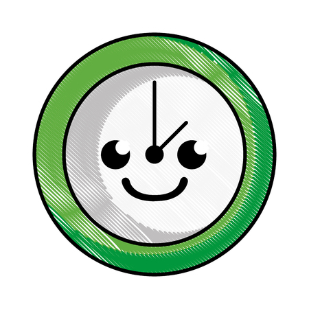 grated smile circle clock cartoon vector illustration Illustration