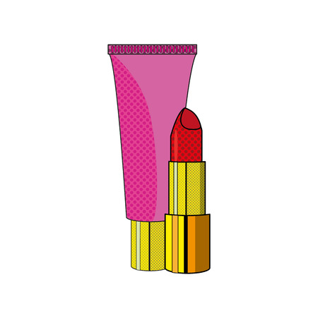 Lipstick and creme of make up accesories and cosmetic theme Isolated design Vector illustration
