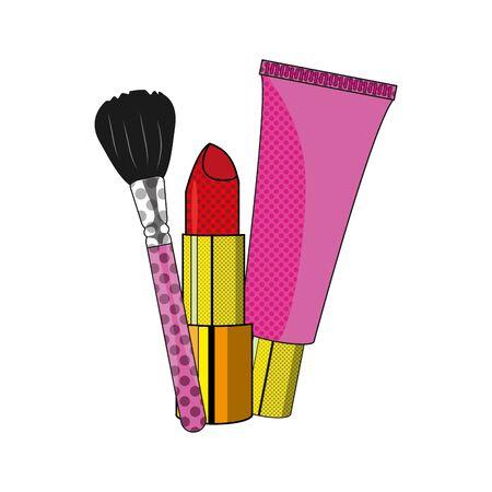 アクセサリーや化粧品のテーマを構成する口紅ブラシとクレーム孤立したデザインベクトルイラスト