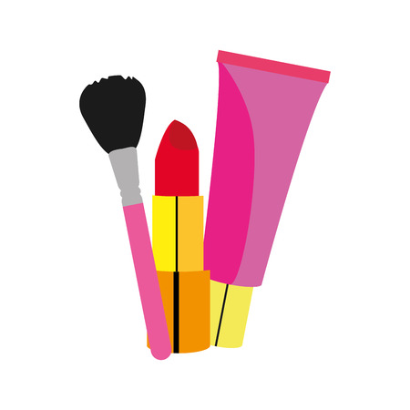 Lipstick creme and brush of make up accesories and cosmetic theme Isolated design Vector illustration 일러스트