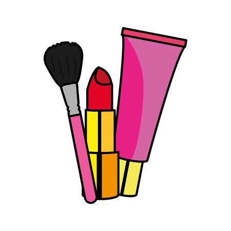 アクセサリーや化粧品のアクセサリーや化粧品の口紅クレームとブラシ孤立したデザインベクトルイラスト