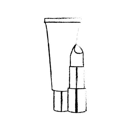 メイクアップアクセサリーや化粧品のテーマの口紅とクレーム孤立したデザインベクトルイラスト
