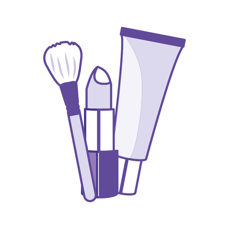 Lipstick cream and brush of make up accesories and cosmetic theme Isolated design Vector illustration 일러스트