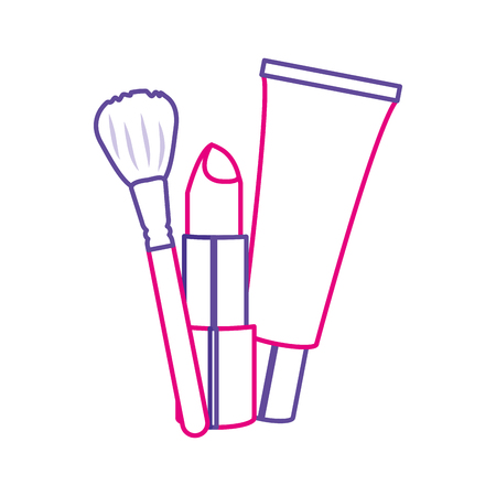 アクセサリーや化粧品のアクセサリーや化粧の口紅クリームとブラシ孤立したデザインベクトルイラスト