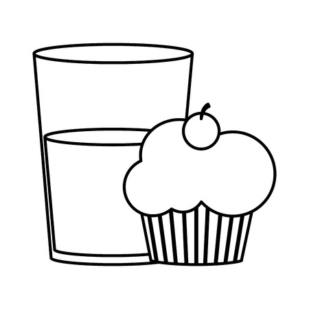 Cupcake and milk of dessert sweet and bakery theme isolated design Vector illustration Çizim