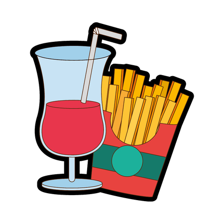 Fries and cocktail of fast food urban and tasty menu theme Isolated design Vector illustration